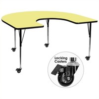 "Bowery Hill 31"" x 66"" Horseshoe-Shaped Mobile Activity Table in Yellow"