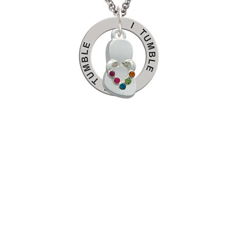 Multicolored Crystal Flip Flop I Tumble Affirmation Ring Necklace