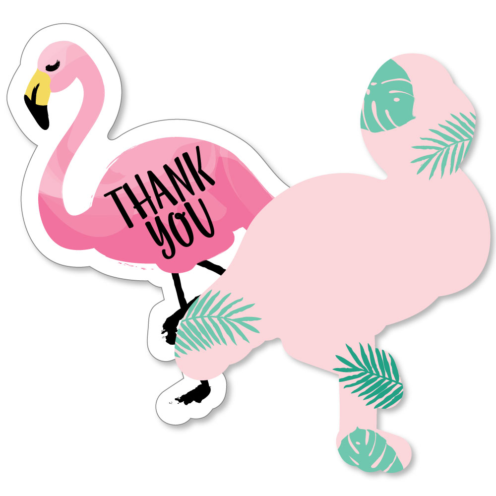 Flamingo - Shaped Thank You Cards - Baby Shower or Birthday Party Thank You Note Cards with Envelopes - Set of 12