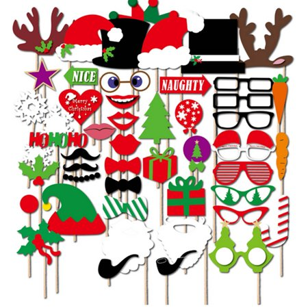 50pccs Merry Christmas Photo Booth Props on Sticks for Wedding Birthday Xmas Party Kit