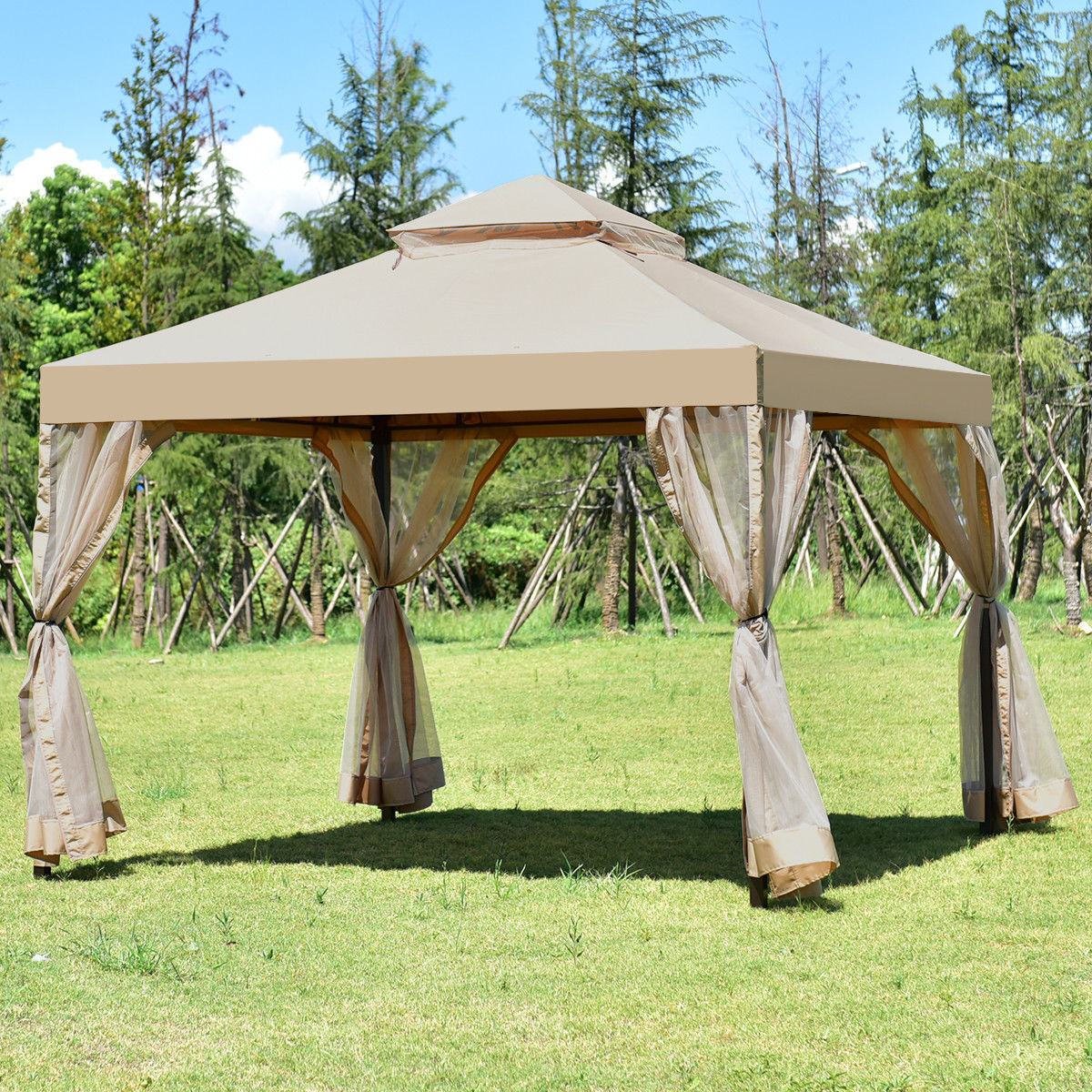 Costway Outdoor 2-Tier 10'x10' Gazebo Canopy Shelter Awning Tent Patio Garden Brown