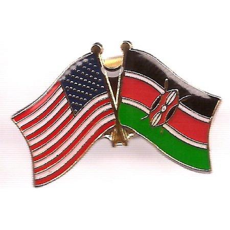 PACK of 3 Kenya & US Crossed Double Flag Lapel Pins, Kenyan & American Friendship Pin Badge - Us Flag Pins