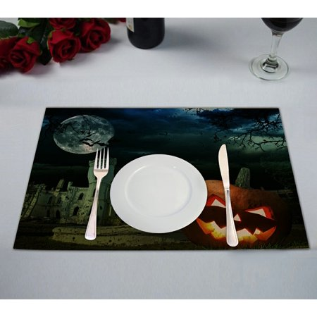GCKG Moon Placemat, Pumpkin on Halloween against Scary Old Castle Placemat 12x18 Inch,Set of 2 (Old Scary Halloween Songs)