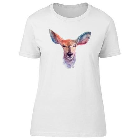 Beautiful Watercolor Deer Face Tee Women's -Image by Shutterstock - Deer Face