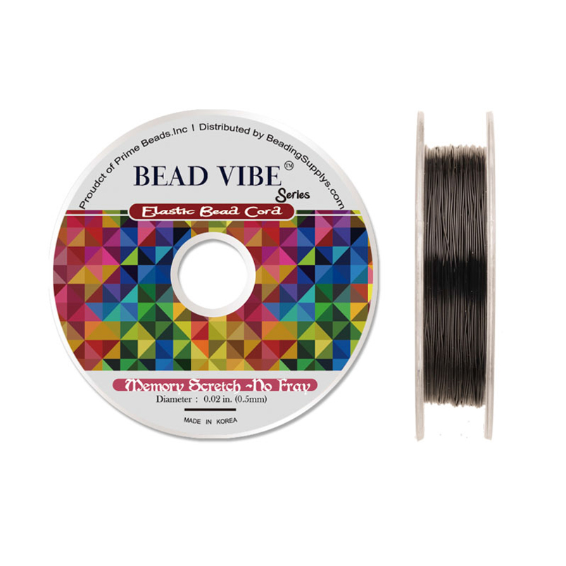Elastic Bead Cord, Beadvibe Series Memory Stretch Non Fray, Black 0.5mm Diameter 82ft
