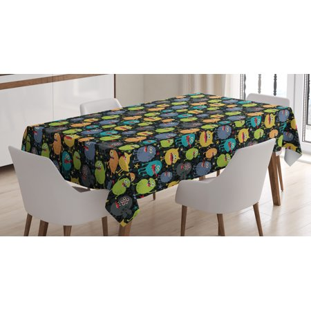 Alien Tablecloth, Cute Funny Characters Cartoon Style Halloween Themed Monsters Abstract Background, Rectangular Table Cover for Dining Room Kitchen, 60 X 84 Inches, Multicolor, by Ambesonne - Halloween Backgrouds