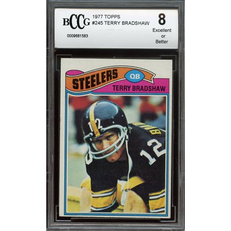 1977 Topps  245 Terry Bradshaw Pittsburgh Steelers Bgs Bccg 8