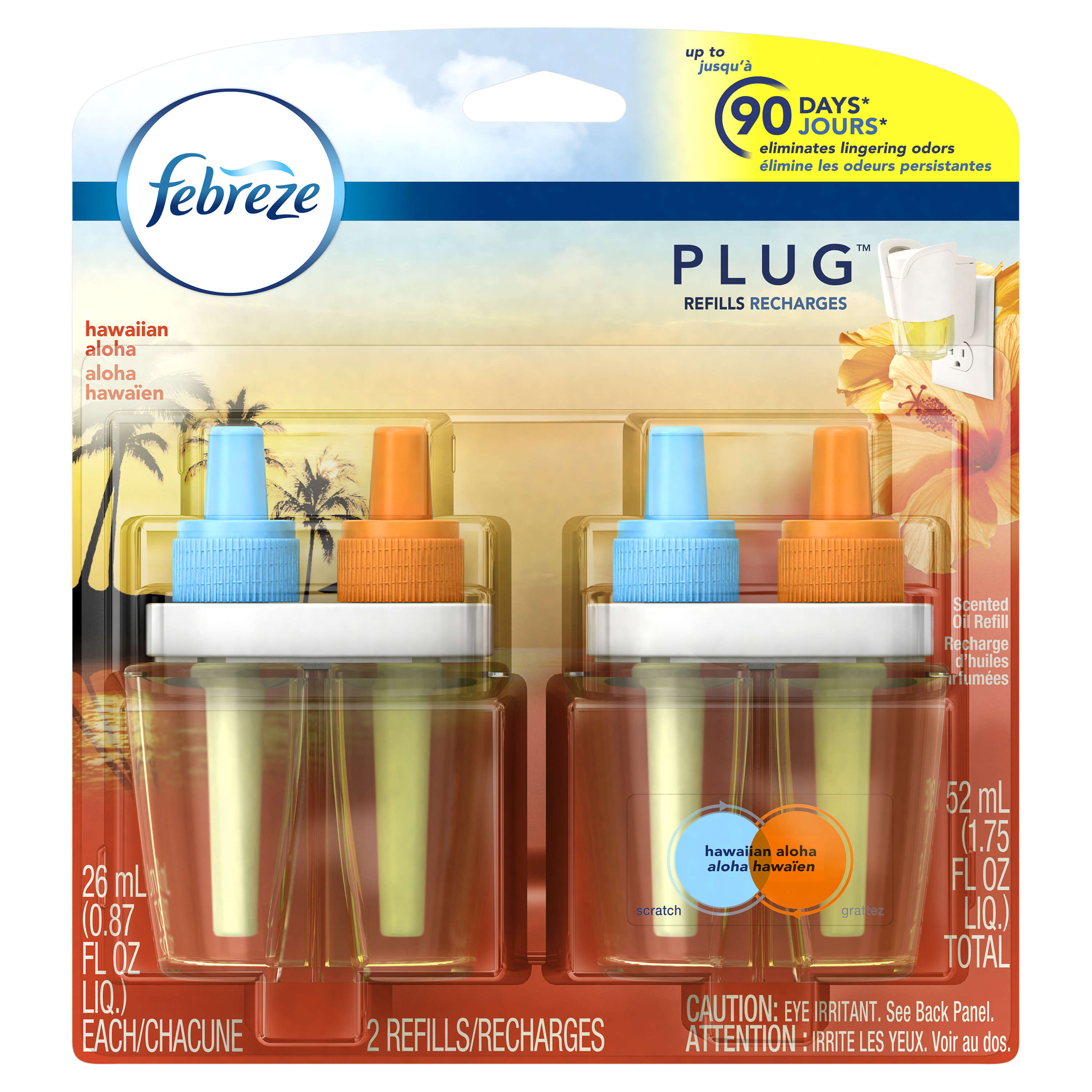 Febreze Plug In Scented Oil Air Freshener Refills, Hawaiian Aloha, 2 x 0.87 Fl Oz