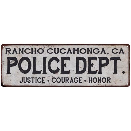 RANCHO CUCAMONGA, CA POLICE DEPT. Vintage Look Metal Sign Chic Decor 106180012131 (Party City Rancho Cucamonga)