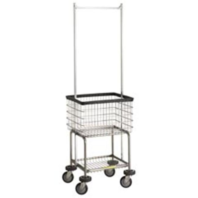 R&B Wire 300G55 Deluxe Elevated Wire Frame Metal Laundry Cart with Double Pole Rack