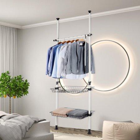 Sortwise Portable Indoor Garment Rack Free Diy Coat Hanger Clothes Wardrobe 2 Poles 1 Hanging Bar 2 Storage Wire Baskets Horizontal Bar Holds