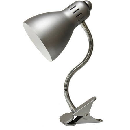 Mainstays Metal Gooseneck Clip Lamp, Nickel, CFL Bulb Included (Lamp Chip)