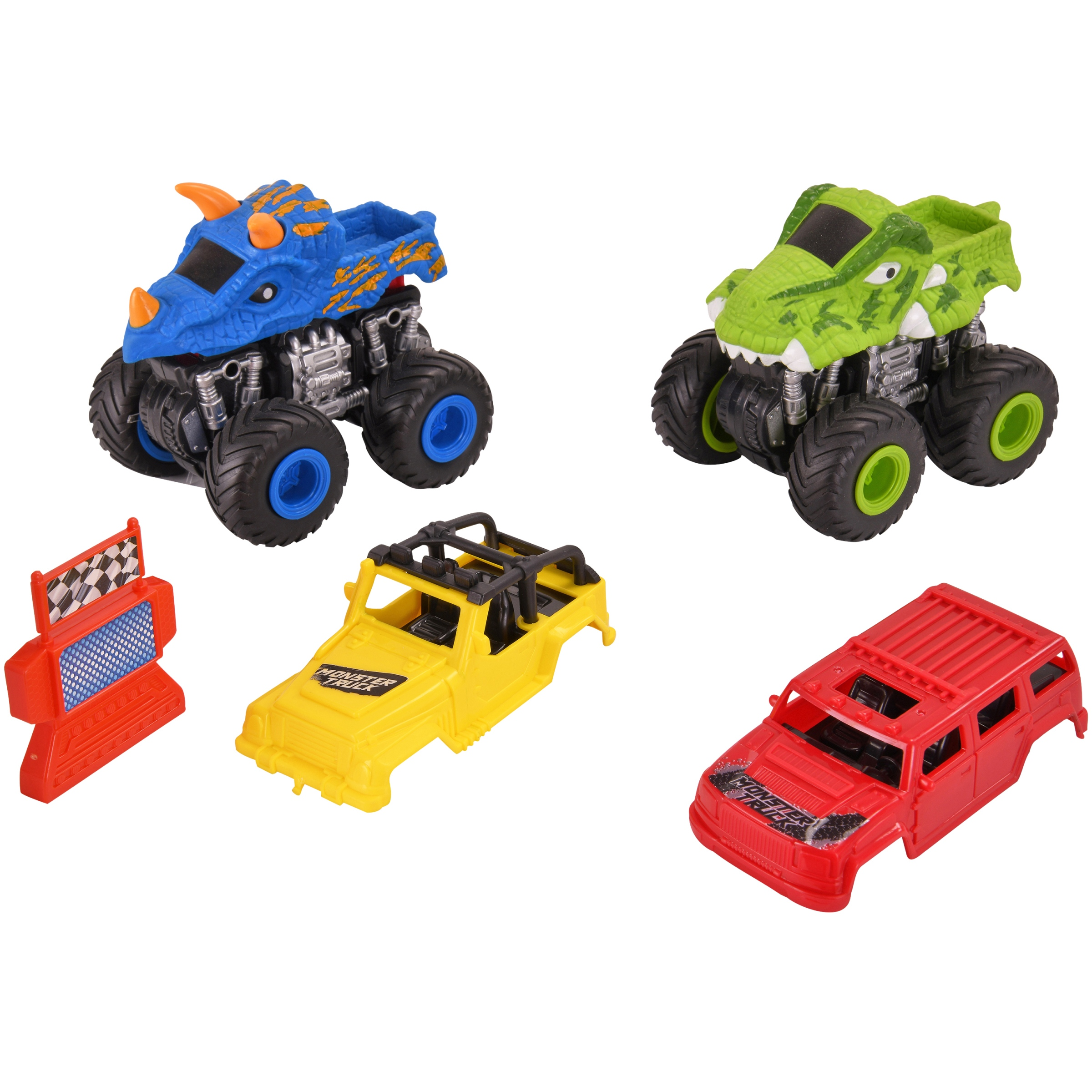 Kid Connection 7-Piece Friction Powered Monster Truck Play Set, Blue & Green