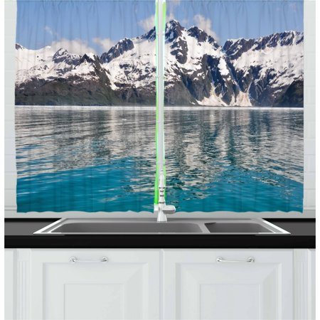 Alaska Curtains 2 Panels Set, Aialik Bay Kenai Fjords Arctic Landscape Northern American Idyllic, Window Drapes for Living Room Bedroom, 55W X 39L Inches, Aqua Sky Blue Forest Green, by Ambesonne ()