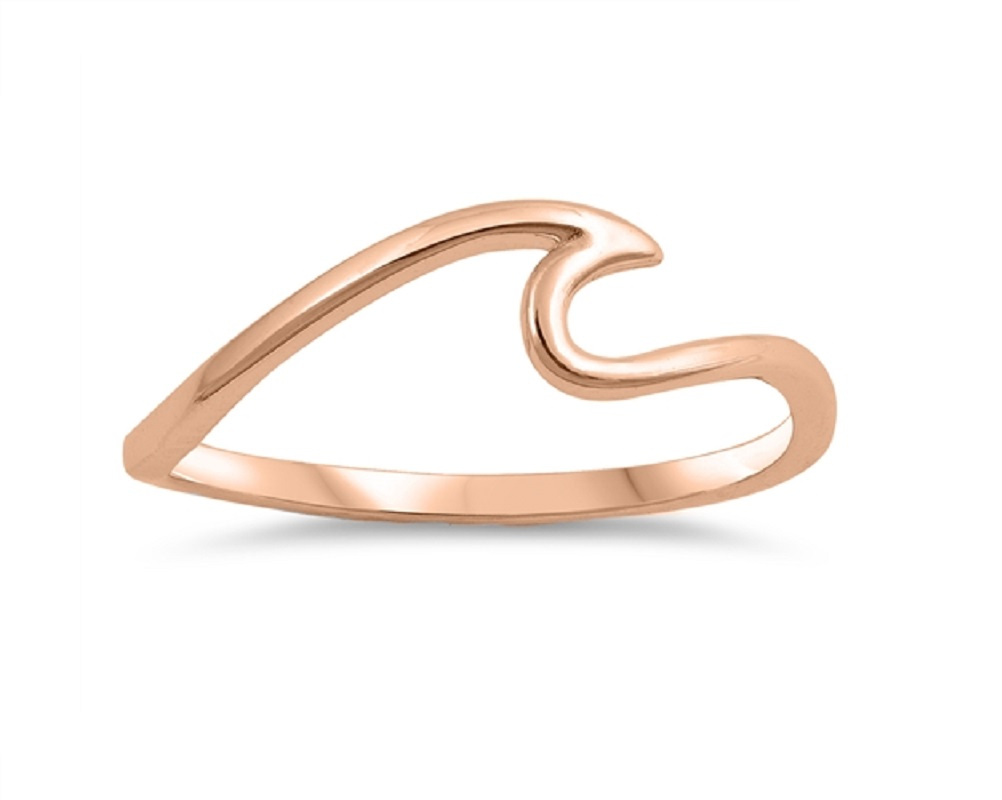 Princess Kylie Rhodium Plated Sterling Silver Thin Wave Ring