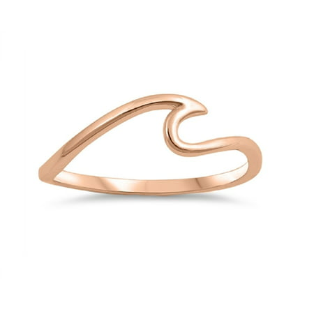 Plate Wave Ring (Rose Gold-Tone Plated Sterling Silver Plain Wave)