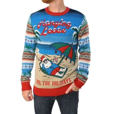 Ugly Christmas Sweater Men's Santa Hangin Loose LED Light Up Sweatshirt (Best Ugly Sweater Ever)