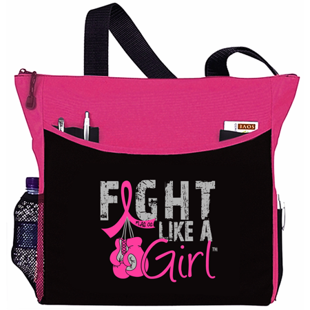 Fight Like a Girl Breast Cancer Tote Bag - Dakota, Hot Pink Ribbon