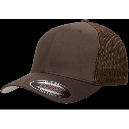 The Hat Pros Fitted Hat Mesh Cotton Twill Trucker Flexfit Cap 6511 (Brown) Pro Cotton Cap