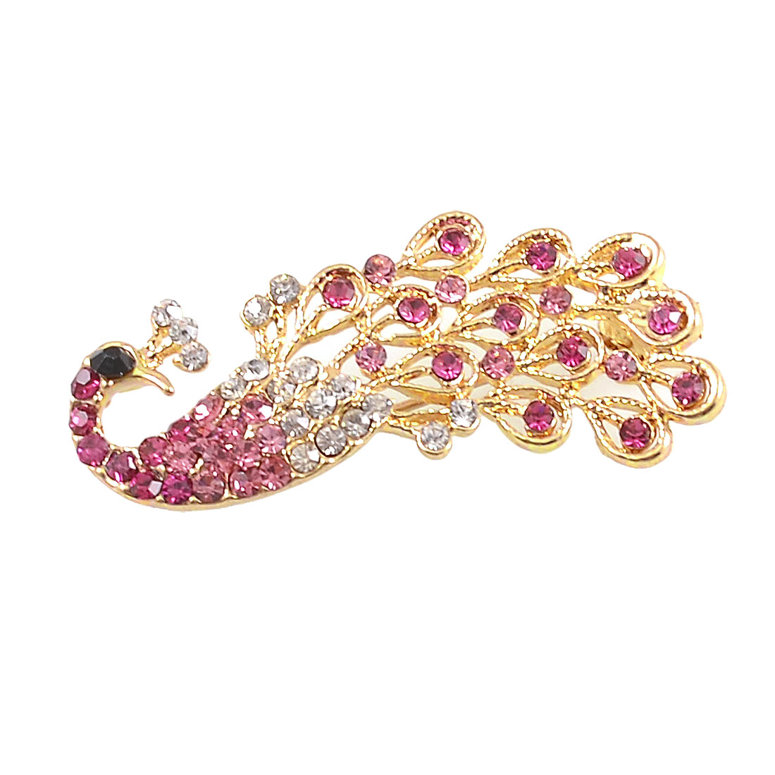 Gold Tone Fuchsia Rhinestone Detail Peacock Design Metal Breastpin Brooch