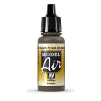 Olive Drab Paint, 17ml, The pigments used for airbrush colors are ground to the finest possible consistency By Vallejo