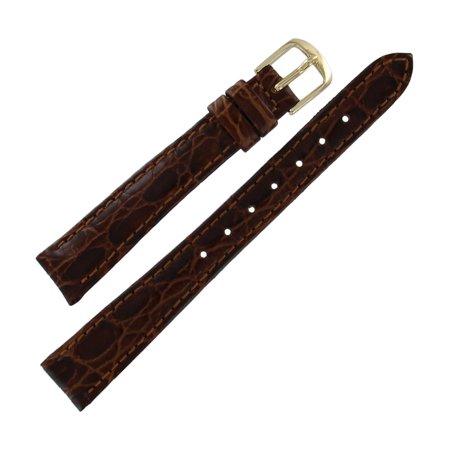 Crocodile Skin Watch Band - Hadley Roma LS717 13mm Regular Brown Crocodile Grain  Ladies Watch Strap