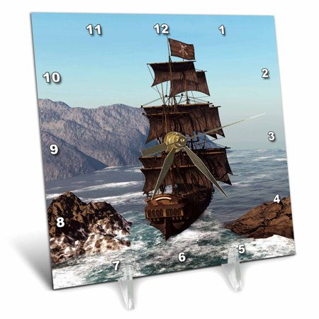 3dRose Pirate Ship sails trough coastal in strong winds, Desk Clock, 6 by 6-inch