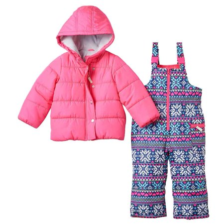 7141f930c Carters - Carters Infant Girls 2 Pc Snow Bibs & Winter Coat Set Nordic  Print Snowsuit - Walmart.com