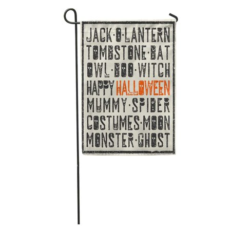 KDAGR Boo Halloween Words Stamp Letters Scary Bats Tombs Pumpkins Holiday Garden Flag Decorative Flag House Banner 12x18 inch - Halloween Office Boo Letter