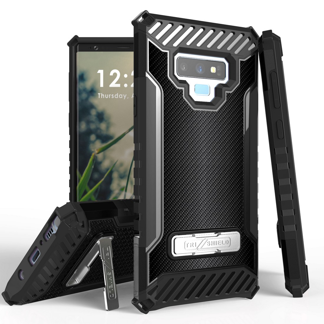 Beyond Cell Military Grade Drop Tested [MIL-STD 810G-516.6] Kickstand Rugged Cover Armor Case and Atom Cloth Samsung Galaxy Note 9 - Dark Carbon