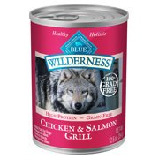 Blue Buffalo Wilderness High Protein Grain Free, Natural Adult Wet Dog Food, Salmon & Chicken Grill (Various Sizes)