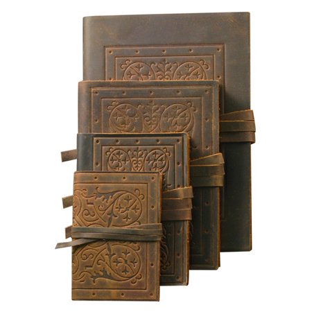 Old World Luxury Italian Leather Bound Soft Cover Sketch Books Embossed Patterns (Leather 3x5 Notebook Cover)