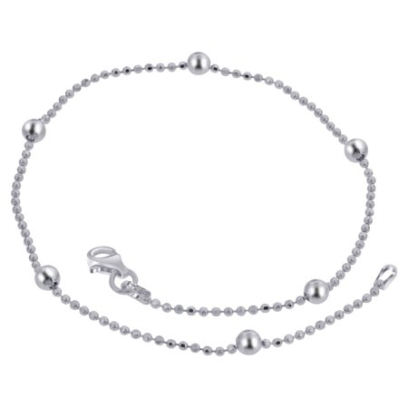 1mm Snake Chain Anklet (Gem Avenue 925 Sterling Silver 1mm Chain with 5mm Ball Anklet 10 Inch )