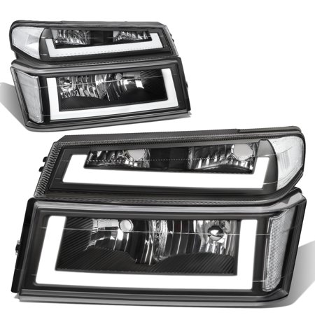 For 2004 to 2012 Chevy Colorado Pair Black Housing Clear Side LED DRL Fornt Driving Headlight Turn Signal Lamps 05 06 07 08 09 10 11 06 Chevy Colorado Truck