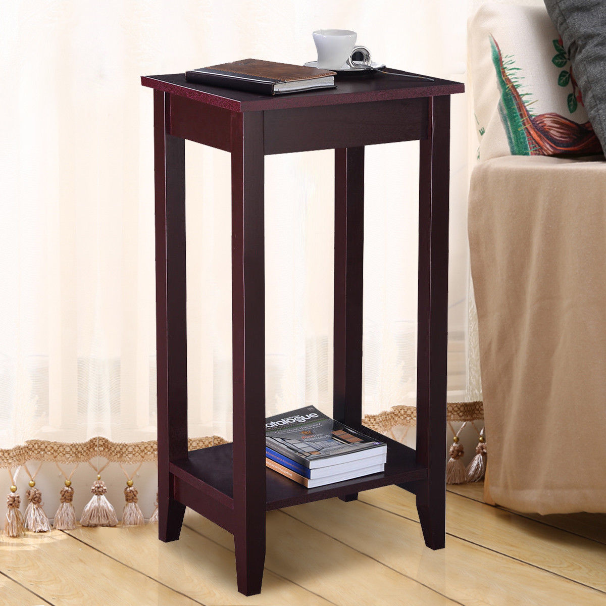 Costway Tall End Table Coffee Stand Night Side Nightstand Accent Furniture Brown (1) by Costway