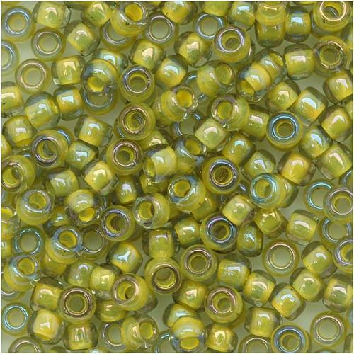 Toho Round Seed Beads 8/0 #246 'Luster Black Diamond/Opaque Yellow Lined' 8 Gram Tube