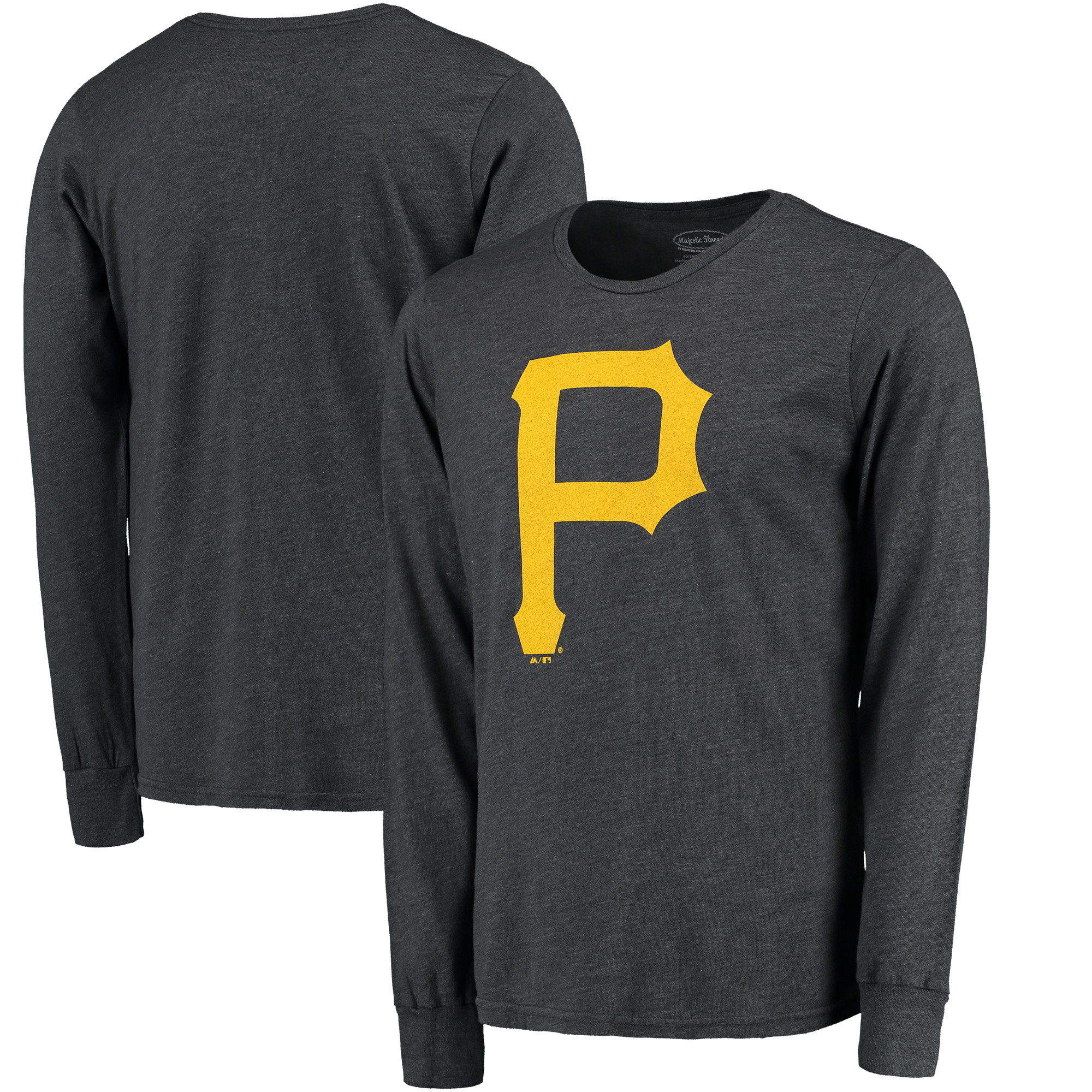 Pittsburgh Pirates Majestic Threads Tri-Blend Long Sleeve T-Shirt - Graphite