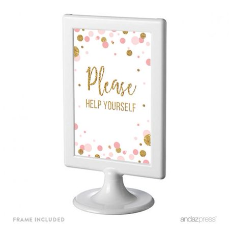 Please Help Yourself , Blush Pink Gold Glitter Baby Shower Framed Party Signs (Shower Sign)