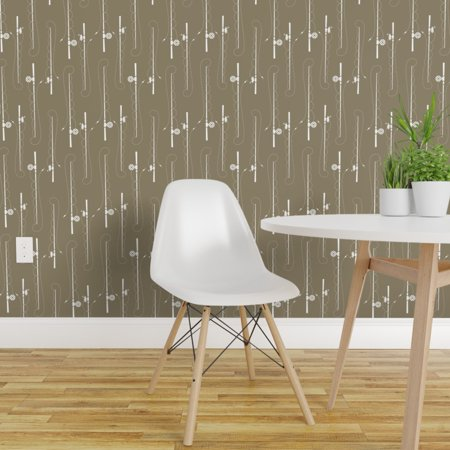 Removable Water Activated Wallpaper Fishing Poles Summer Hunting Brown