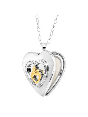 c5241f13f Product Image Mother & Child Heart Locket with Swarovski Crystals in 18kt  Gold-Plated Sterling Silver