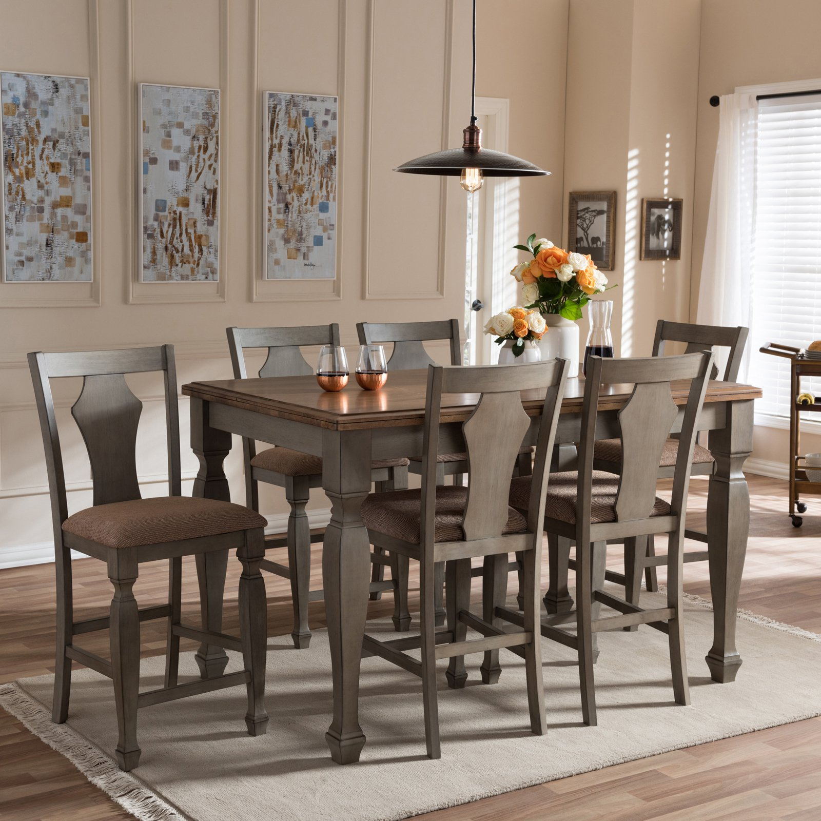 Baxton Studio Arianna 7 Piece Counter Height Dining Set   Walmart.com