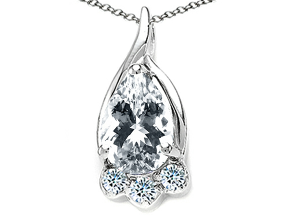 Tommaso Design Pear Shape 7x5mm Genuine White Topaz Pendant Necklace by