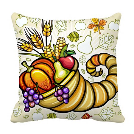 YKCG Thanksgiving Theme Harvest Cornucopia Pillowcase Pillow Cushion Case Cover Twin Sides 18x18 inches - Thanksgiving Theme