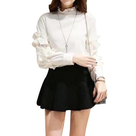 Funcee Fashion Stand Collar Lace Long Sleeve Slim Chiffon Shirts Blouse Solid Bottom