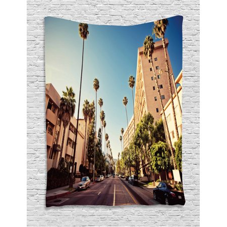 Urban Tapestry, A Street in Beverly Hills California Palm Trees Houses Famous City Photo, Wall Hanging for Bedroom Living Room Dorm Decor, 60W X 80L Inches, Light Blue Peach Green, by (07 Beverly Hills Peach)