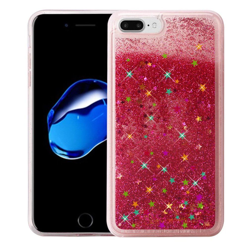 iPhone 7 Plus Case, Premium Luxury Glitter Sparkle Bling Quicksand Designer Case [Slim Fit TPU Back Cover] Fashion Style Skin Cover for Apple iPhone 7 Plus - Rose Pink, Designer, ShockProof Bumper