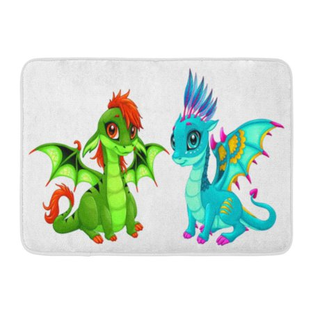 SIDONKU Blue Fantasy Baby Dragons Cute Eyes Cartoon Characters Green Doormat Floor Rug Bath Mat 30x18 (Green Cartoon Eyes)