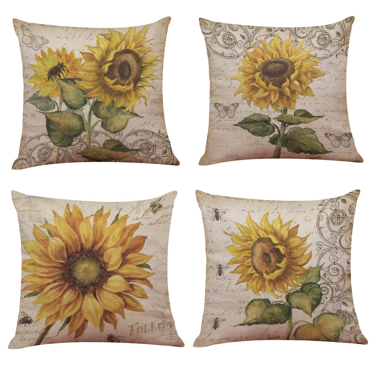 "4PCS//set 18x18/"" Home Office Cafe Decor LOVE Cushion Case Pillow Cover for Sofa"