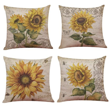 Popeven 4PCS 18x18 Throw Pillow Covers Decorative Couch Pillow Cases Cotton Linen Pillow Square Cushion Cover for Sofa, Couch, Bed and Car (Sunflower) ()