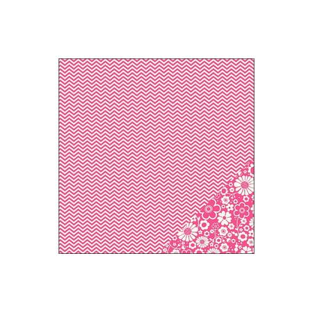 Pebbles Basics Paper 12x12 Begonia Chevron (pack of 25)